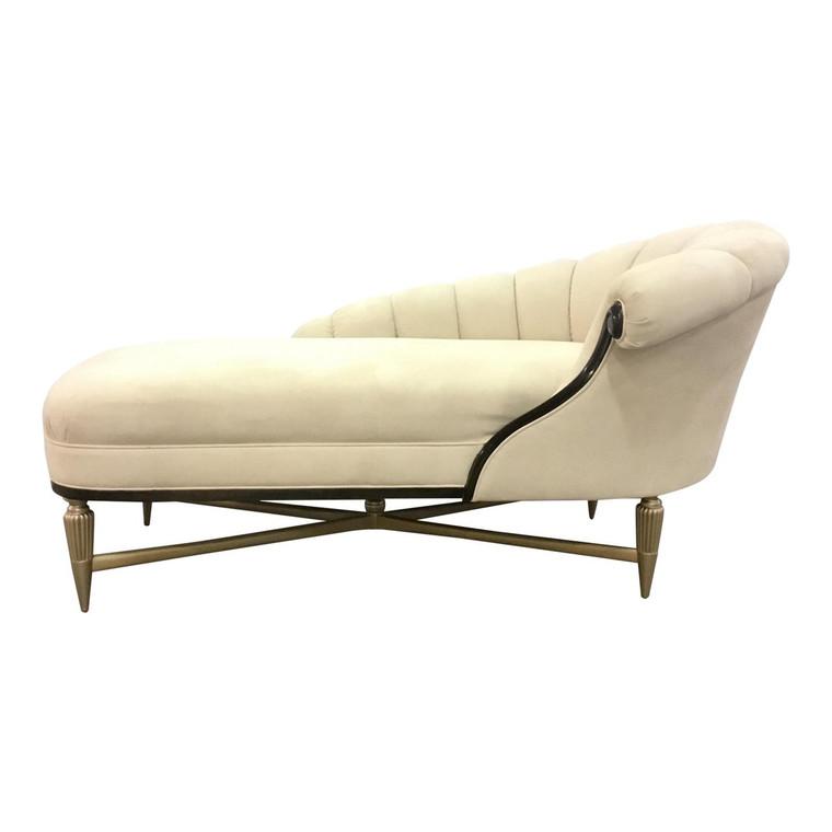 Caracole Modern White Velvet Chaise Lounge