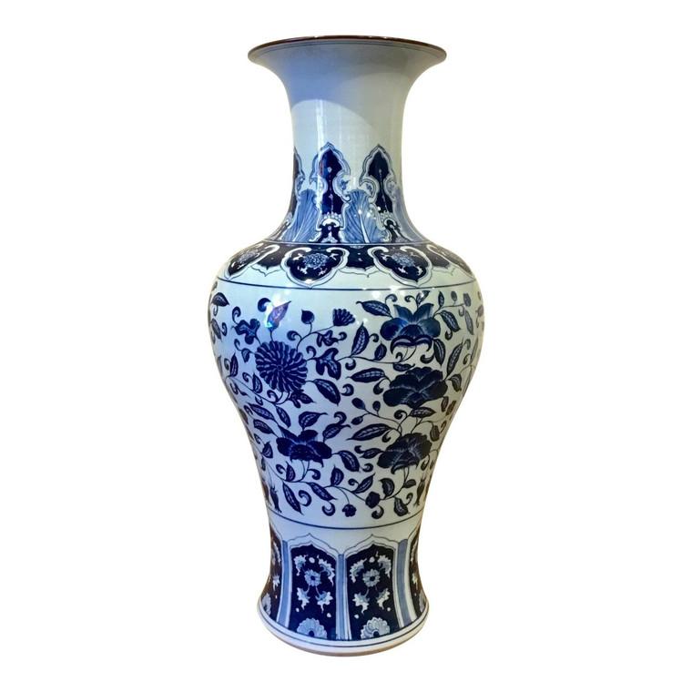 Large Transitional Blue and White Crackle Porcelain Vase