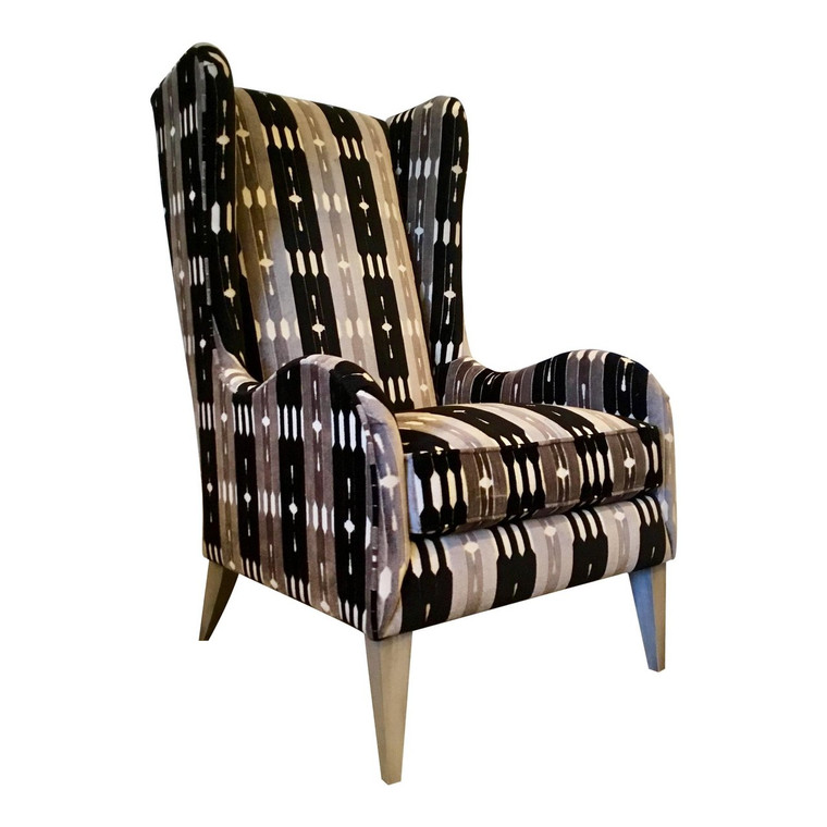 Caracole Modern Gray and Black Cut Velvet Wingback Chair