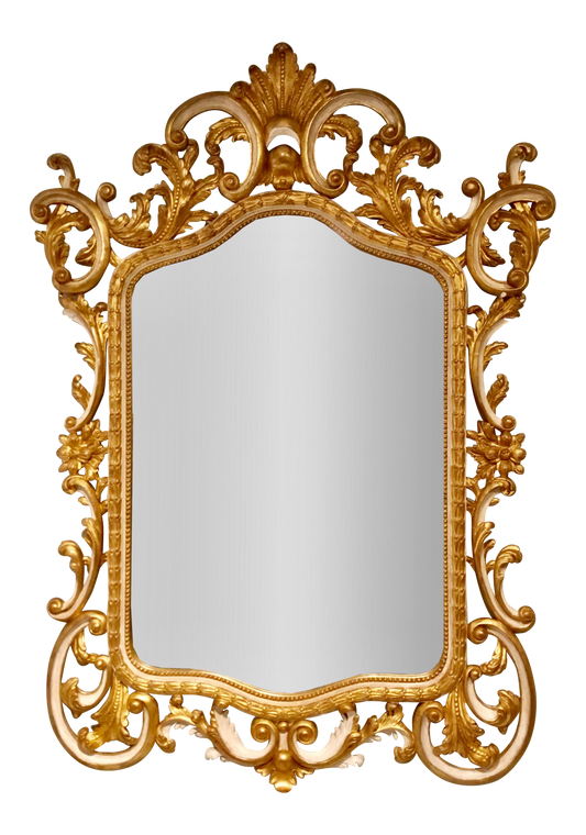 Italian Carved Wood Finished in Gold Gilt and Cream Wall Mirror