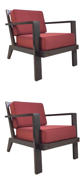 Mid-Century Modern Style Vintage Red Lounge Chairs Pair