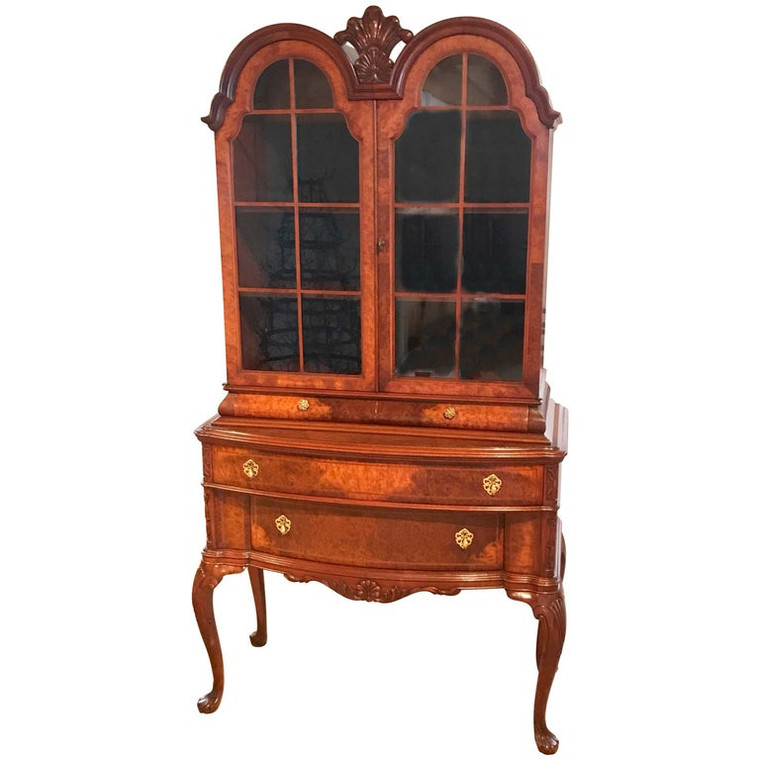 Diminutive Queen Anne Style Burl Breakfront/Bookcase