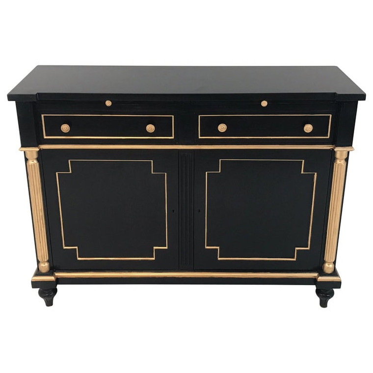 Maison Jansen Style Black Lacquer and Gilt Cabinet or Server