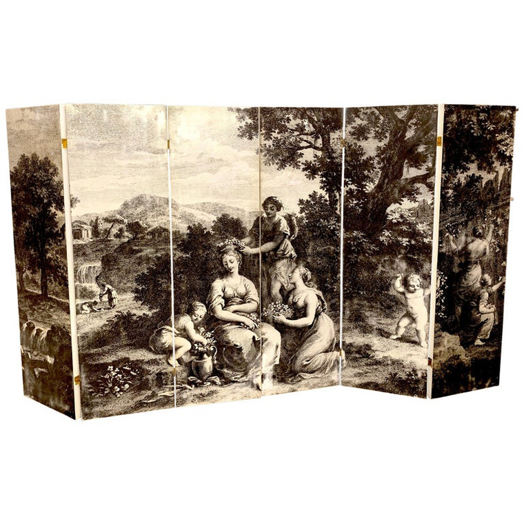 Italian Fornasetti Style Six-Panel Neoclassical Black and White Screen