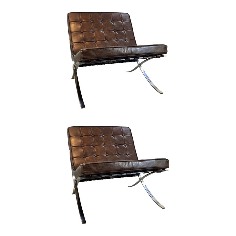 Regina Andrew Mid-Century Modern Inspired Barcelona Tufted Brown Vintage Leather Soho Chairs Pair in the Style of Knoll
