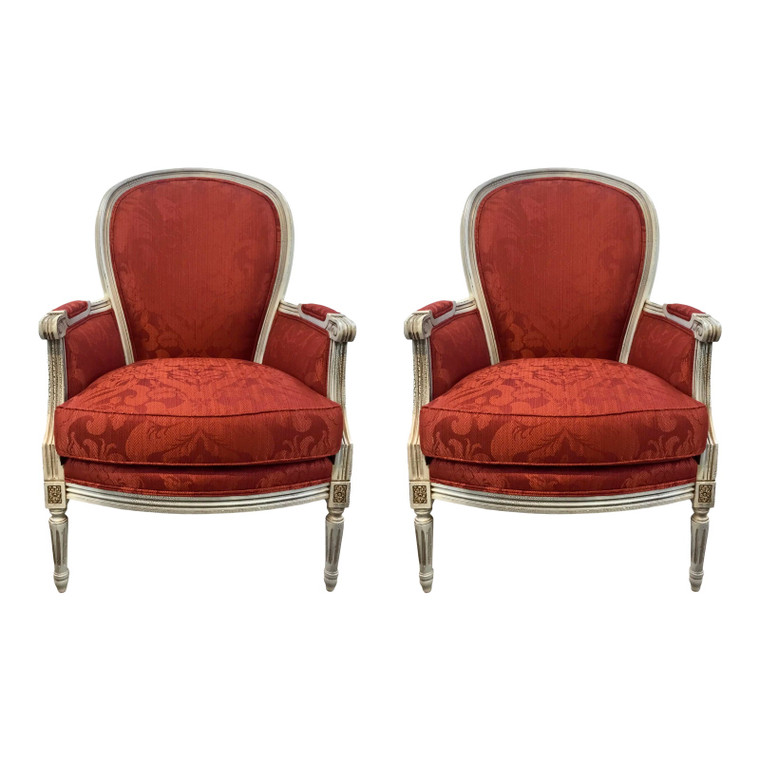 Currey & Co. Traditional Red Damask Dubarry Chairs- A Pair