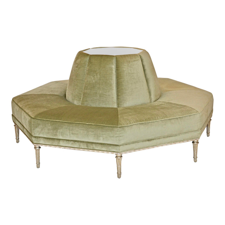 Caracole Modern Celery Green Velvet and White Stone Round/Octagonal Banquette