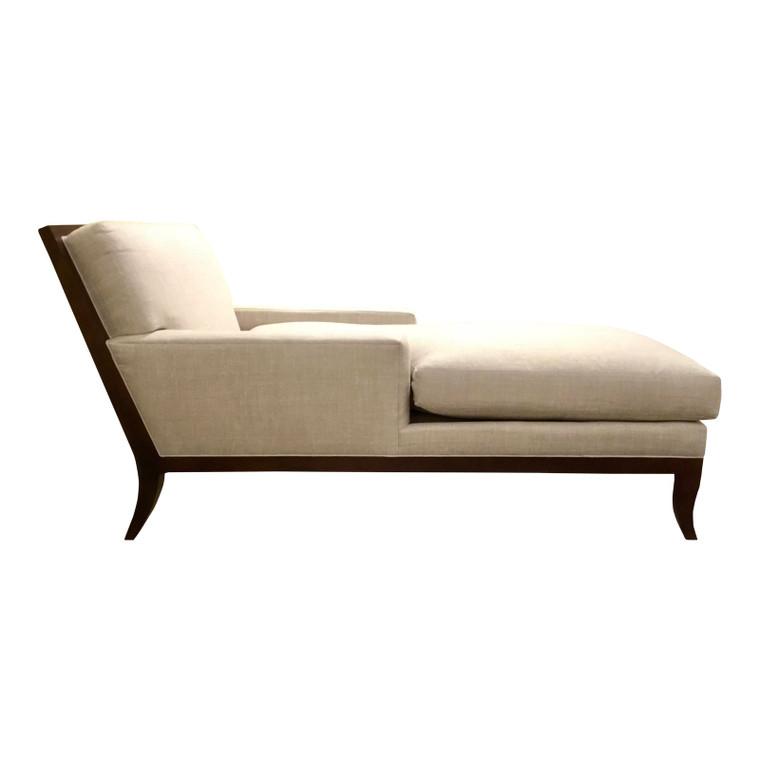 Hickory Chair Transitional Linen Curtis Chaise Lounge