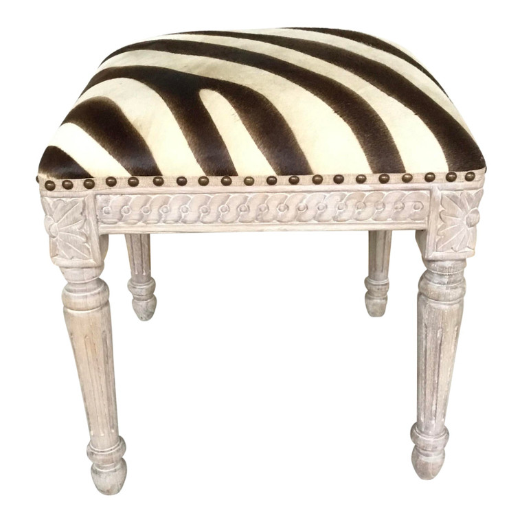 French Style Zebra Hair on Hide Wood Bench