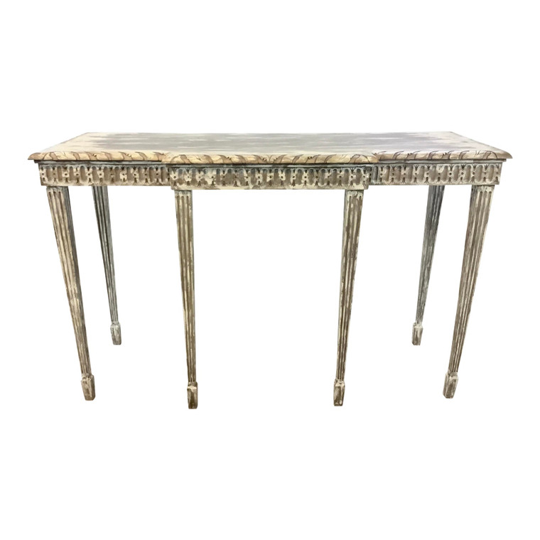 Maitland-Smith Gustavian Style Taupe and Ivory Aged Carved Wood Console Table