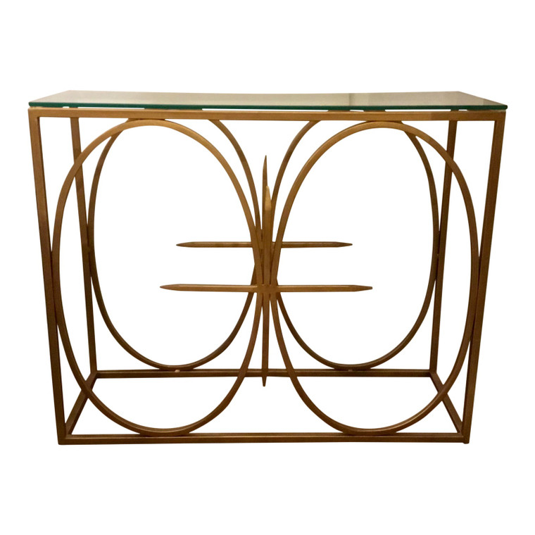 Modern Gold Metal and Glass Geometric Console Table