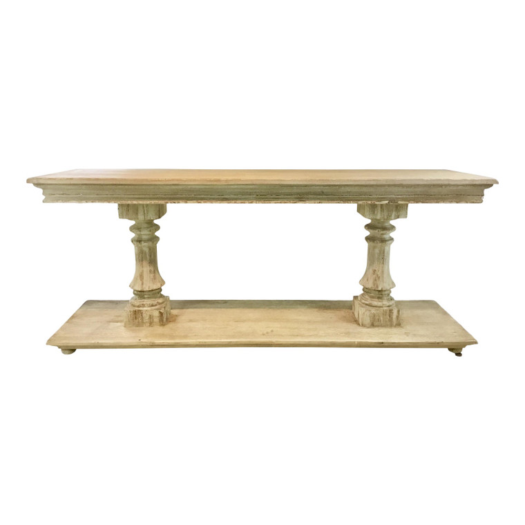 Modern History Transitional Aged White Washed Grand Console Table