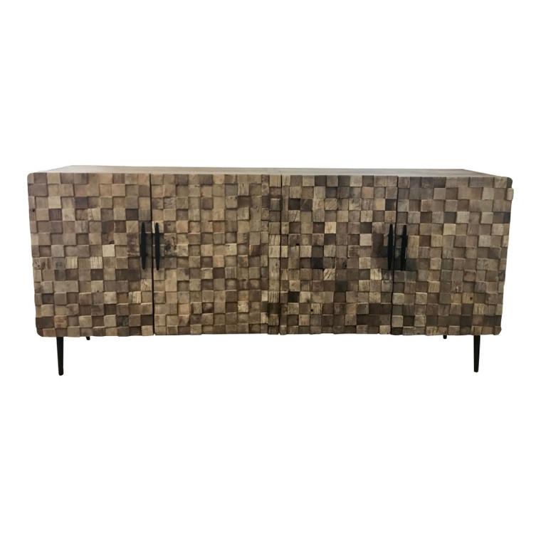 Organic Modern Reclaimed Wood Mosaic Sideboard