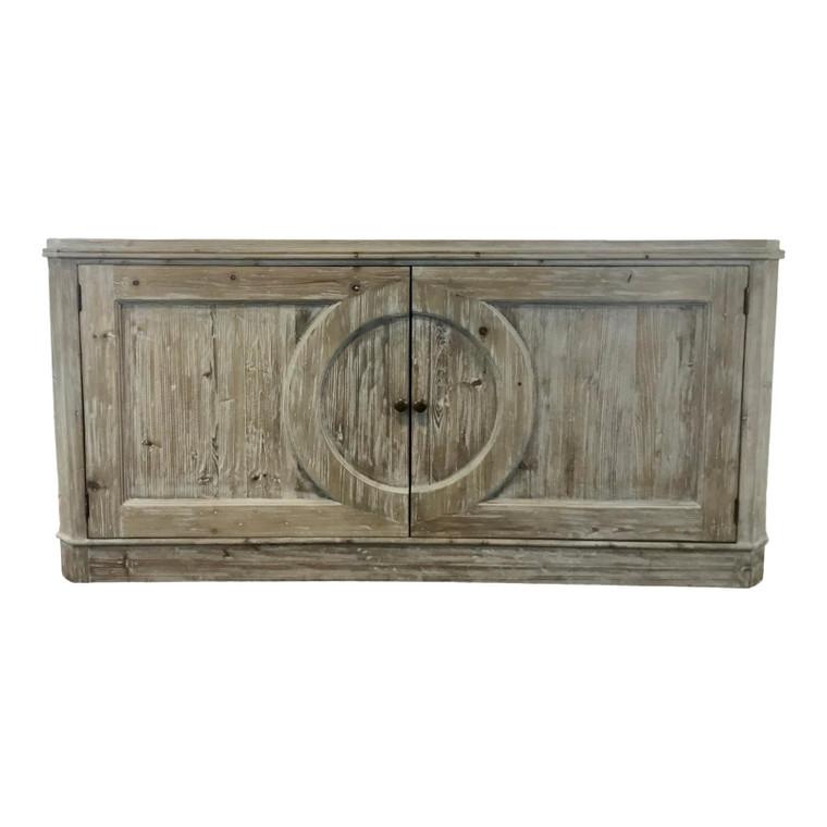 Rustic Organic Modern Greige Pine Sideboard