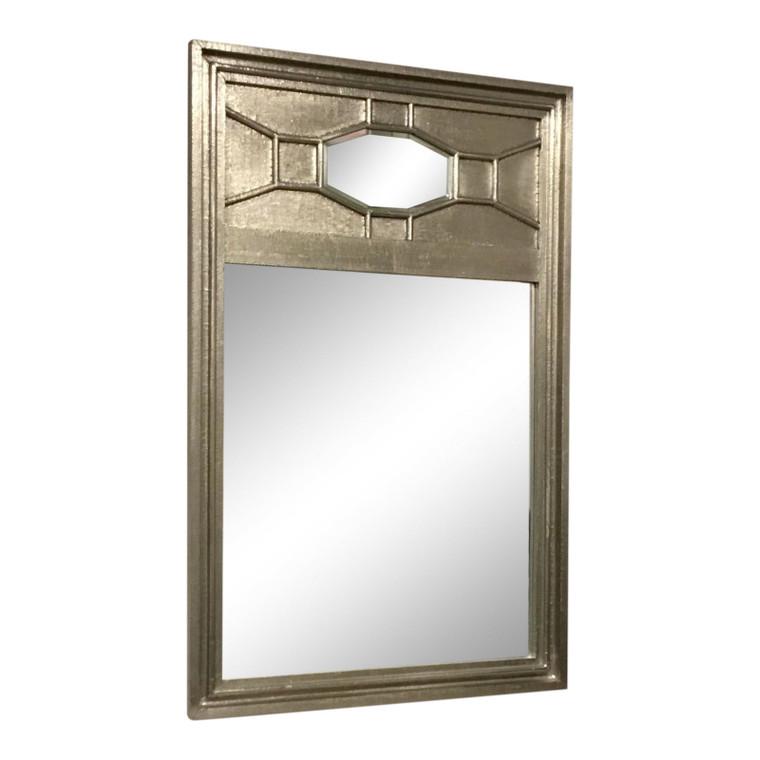 Modern Silver Metal Foil Clad Wood Greenbrier Wall Mirror