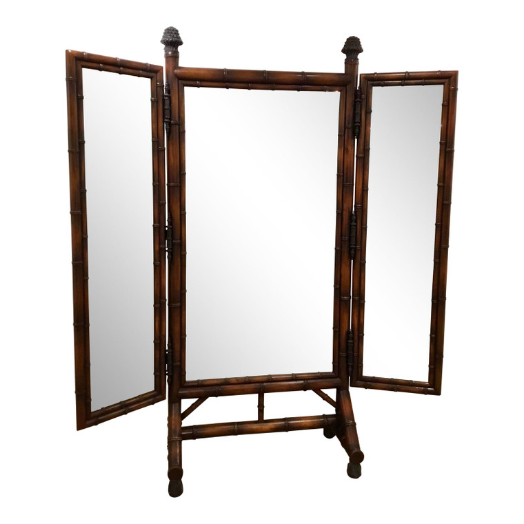 Vintage Theodore Alexander Asian Mahogany Standing Trifold Cheval Floor Mirror