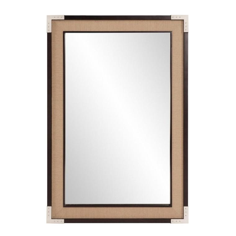 Modern Beige Faux Linen Wall Mirror