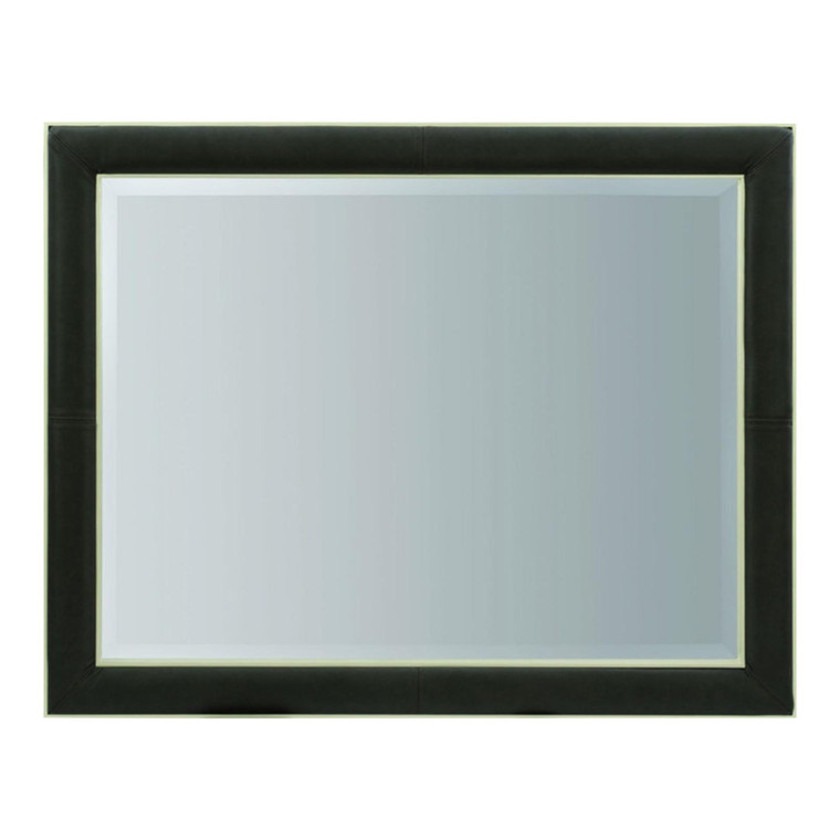 Caracole Modern Dark Taupe Leather Wall Mirror