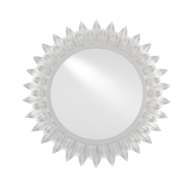 Currey and Co. Modern White Metal Starburst August Wall Mirror
