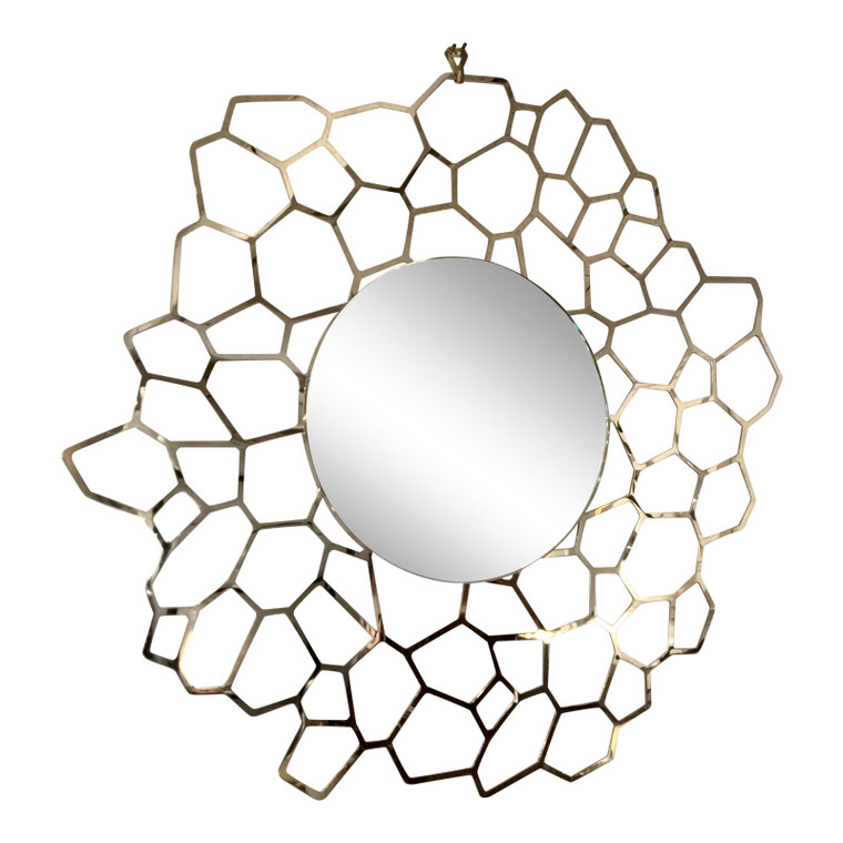 Caracole Modern Geometric Gold Finished on the Sunny Side Round Wall Mirror