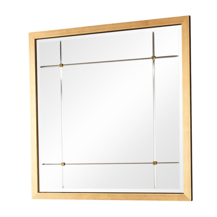 Global Views Modern Antique Gold Beaumont Square Wall Mirror