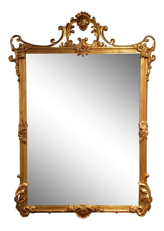 Labarge Co. Traditional Gold Leaf Finished Carved Wood Beveled Wall Mirror