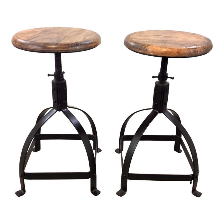 Industrial Modern Wood and Metal Adjustable Counter Stool Pair