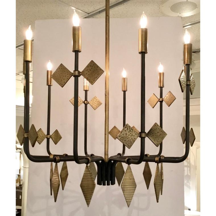 Arteriors Modern Geometric Black and Gold Uzma Chandelier