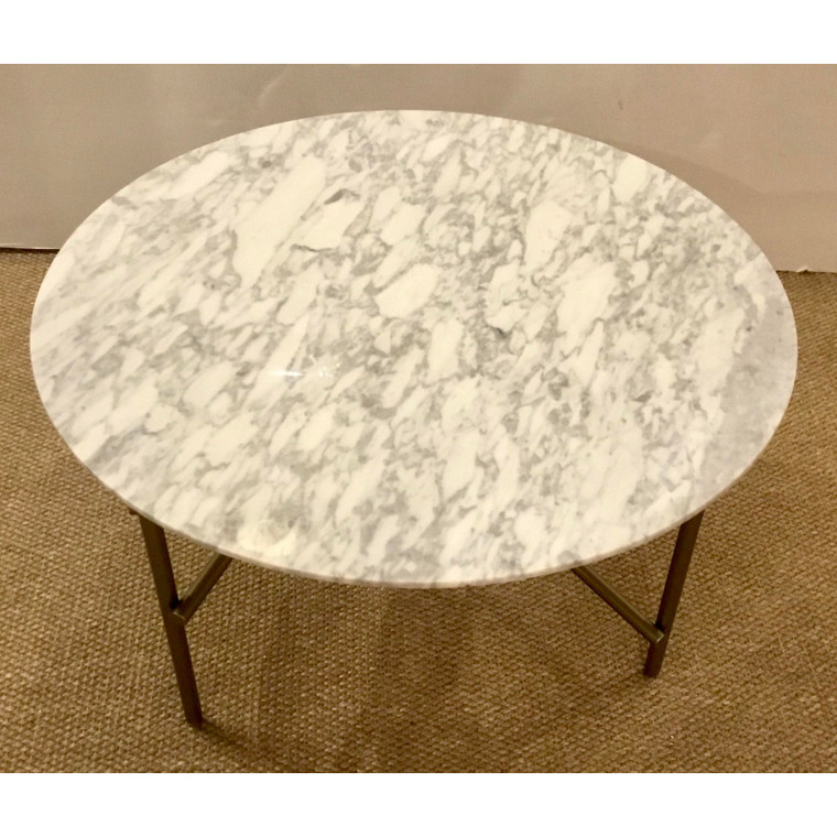 Caracole Modern Marble and Brass Finish Concentric Cocktail Table