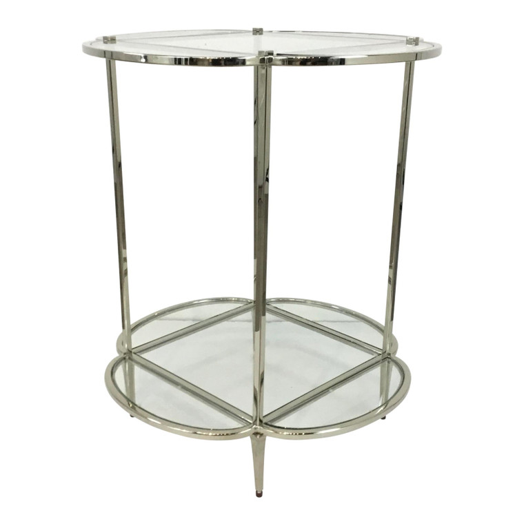 Caracole Modern Glass and Brass Finished Side Car End Table