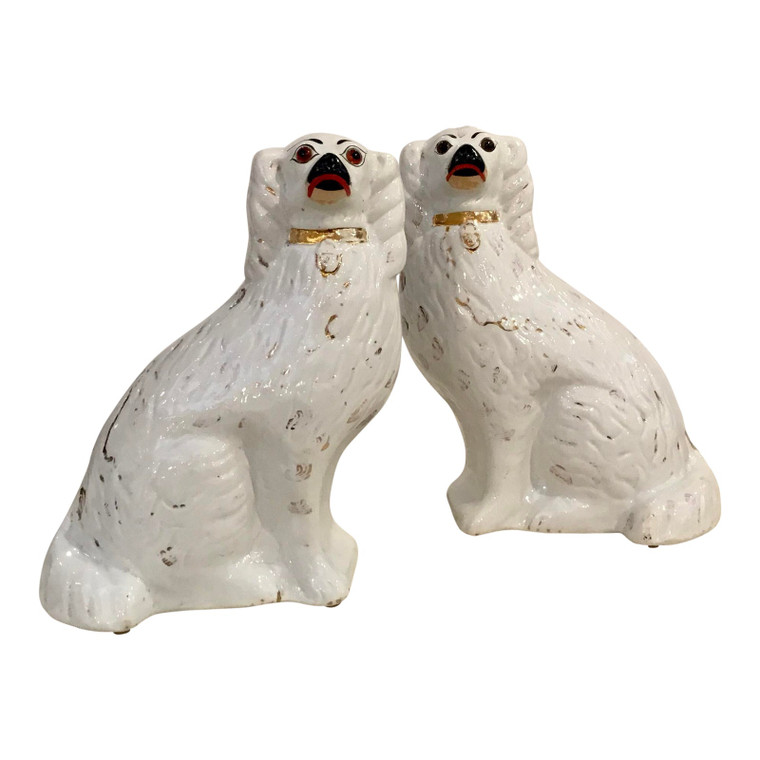 Antique Late 1800's Staffordshire White Dogs Pair