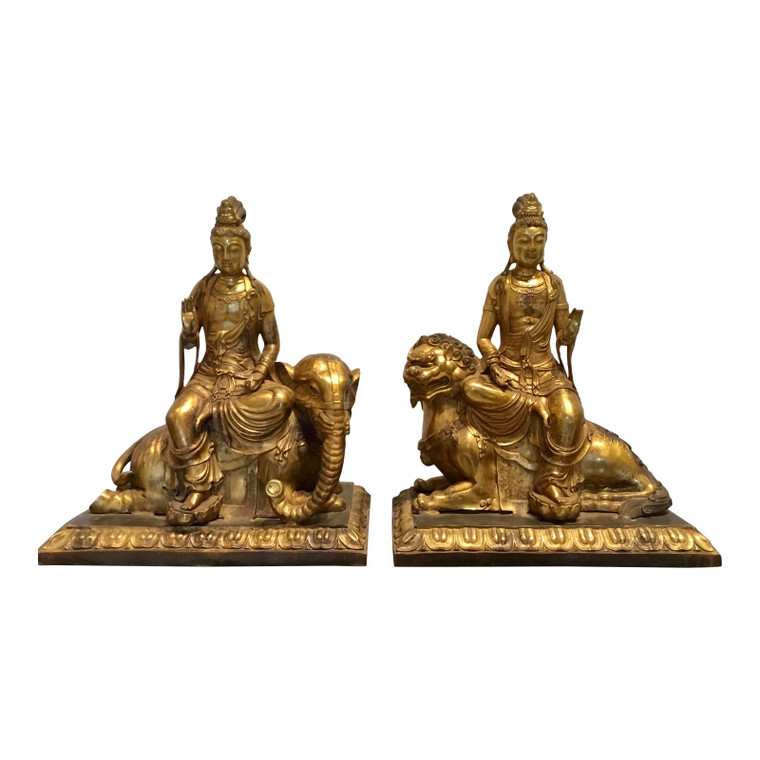 Vintage 1970's Fire Gilded Bronze Asian Figures Sculptures - a Pair