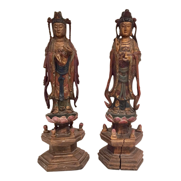 Antique Asian Carved Wood Sculptures - a Pair