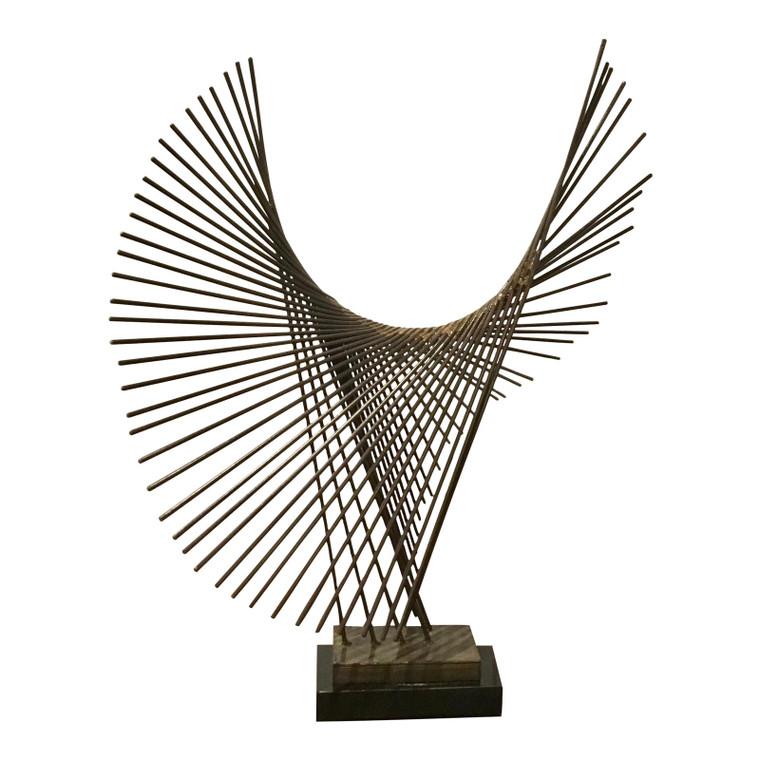 Mid-Century Modern Brutalist Style Metal Sculpture on Stand