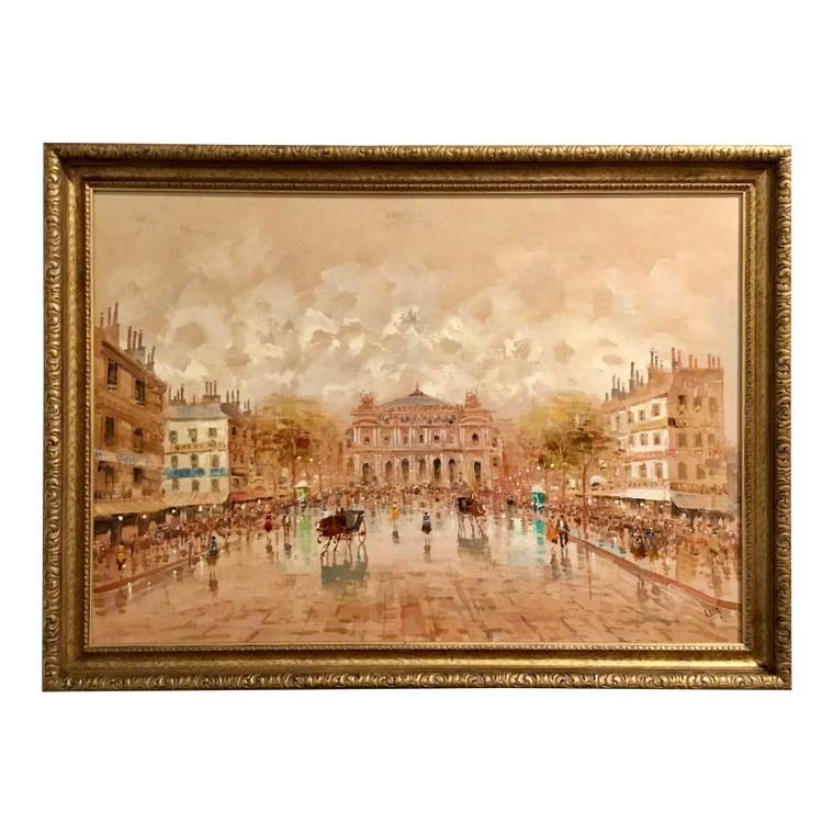 "Mid-Century Moden Italian ""La Scala"" Custom Framed Oil Painting on Canvas"