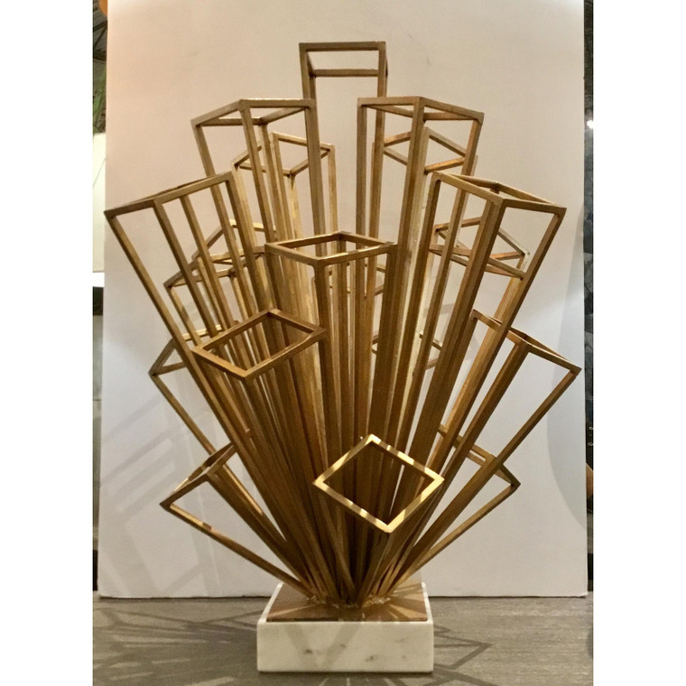 White and Gold Modernist Geometric Illusionist Sculpture in the Style of m.c. Escher