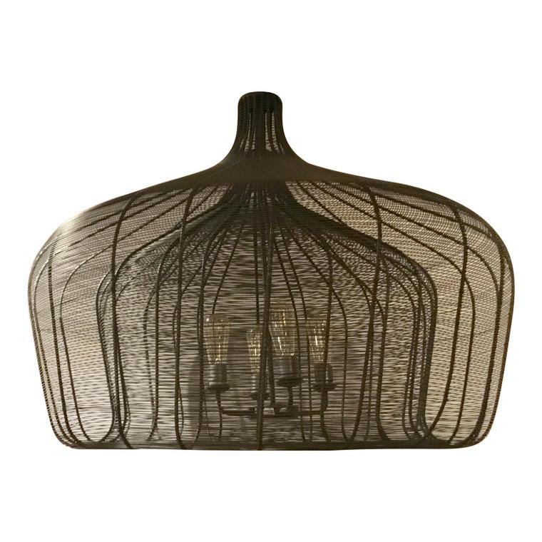 Industrial Modern Large Handmade Woven Metal Shade Pendant