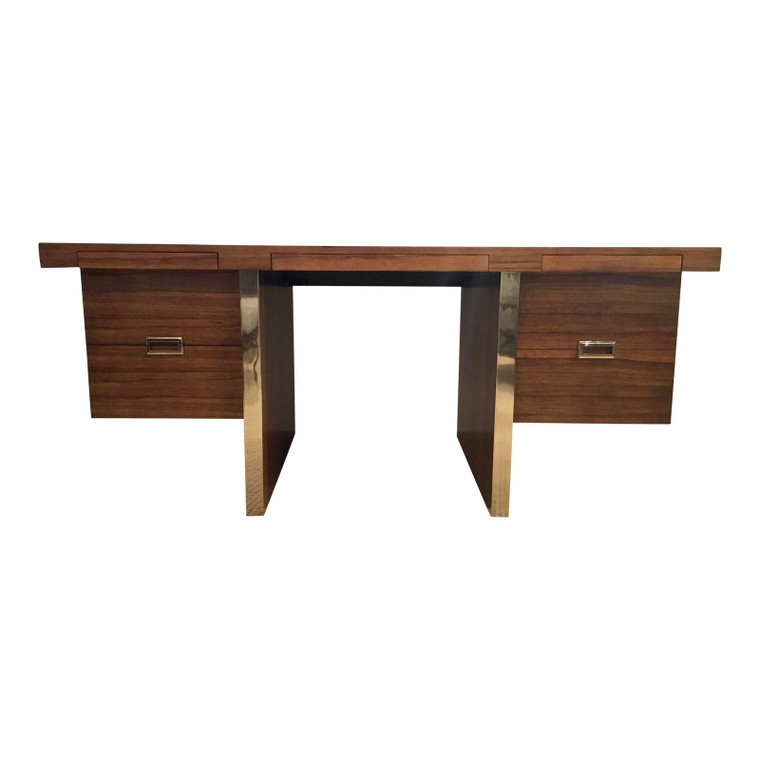 Maitland-Smith Mid-Century Modern Style Large Wood and Metal Writing Desk