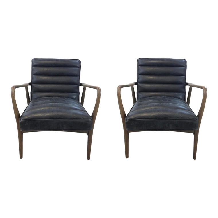 Regina Andrew Mid-Century Modern Style Black Leather Piper Lounge Chairs Pair