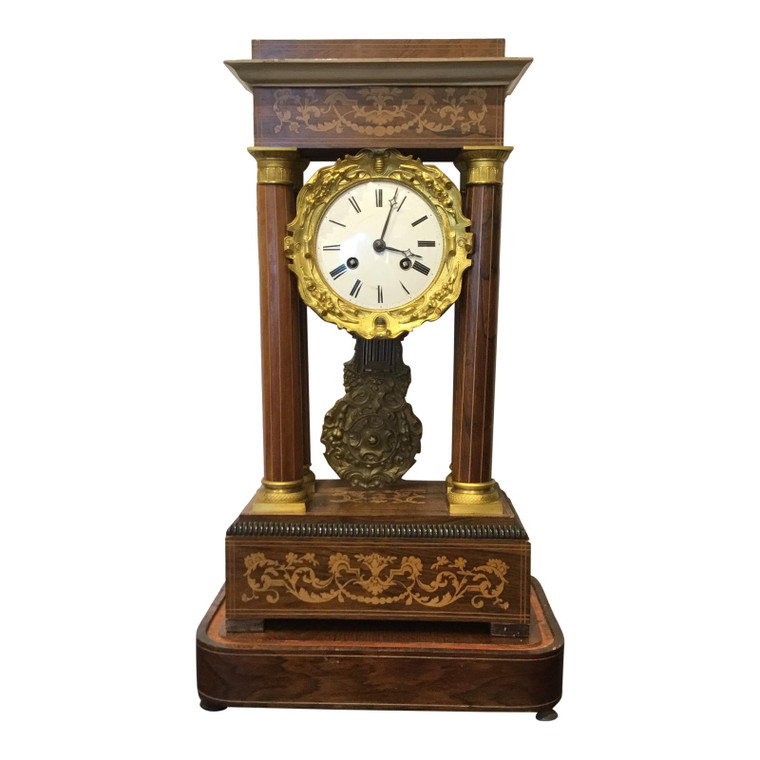 Antique French Empire Wood and Brass Clock