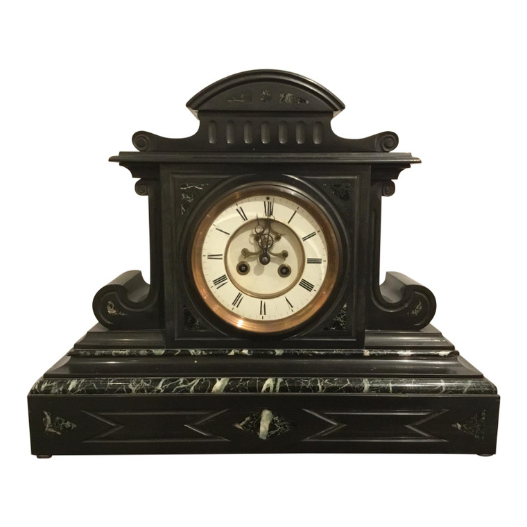 19th Century Antique French Black Slate and Marble Mantle Clock by L'Marti Cie