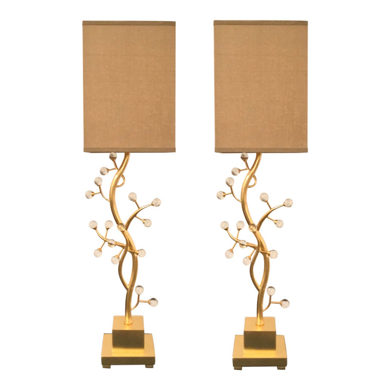 John Richard Modern Gold Finished Metal Branch Table Lamps - A Pair