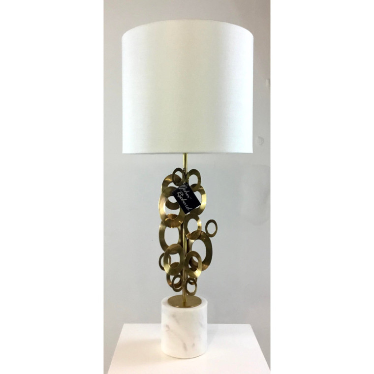 Mid-Century Modern Style Sculptural Brass on on Marble Table Lamps - a Pair