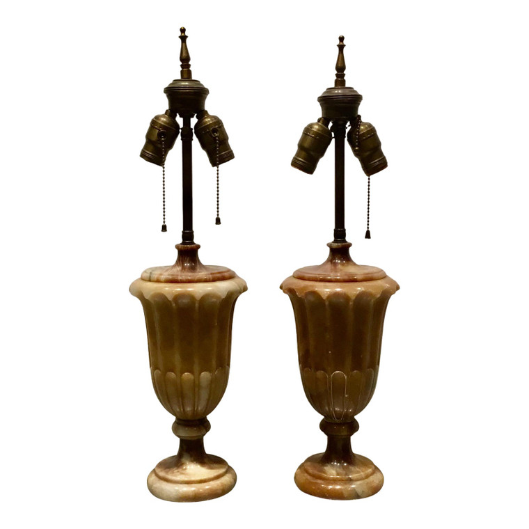 1920s Art Deco Vintage Carved Marble Urns Table Lamps Pair