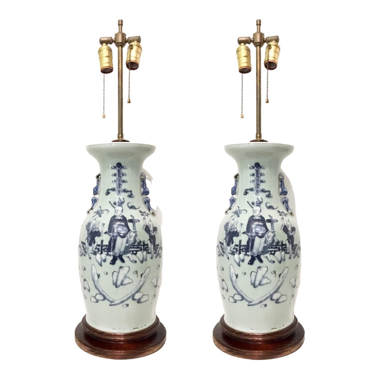 Vintage Blue and White Chinese Porcelain Vases - a Pair