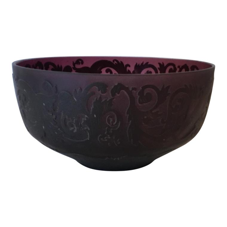 Large Vintage Amethyst Raised Pattern Art Glass Decorative Bowl