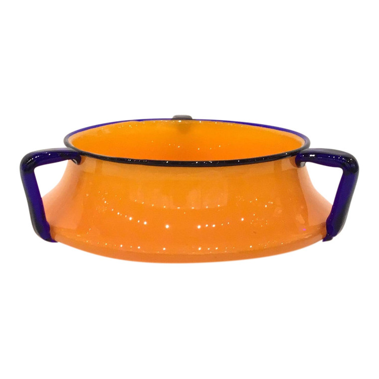 Rare Orange and Blue Czech Art Glass Decorative Bowl