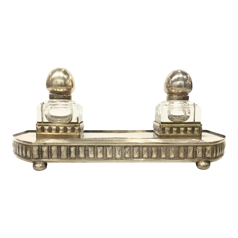Antique Art Deco 1930s Viennese Secessionist Silver Inkwell Set