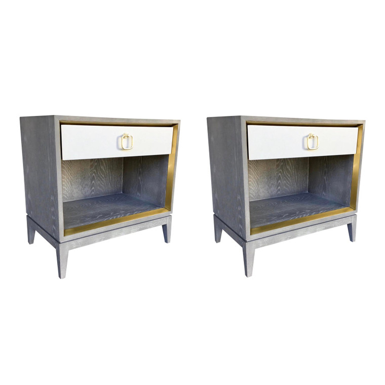 Bungalow 5 Modern Cerused Gray Finished Wood One Drawer Cameron Side Tables/Nightstands Pair