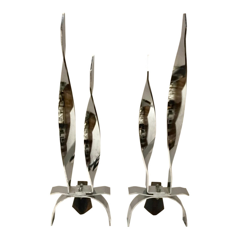 Vintage Mid-Century Modern Polished Chrome Finished Flame Andirons Pair